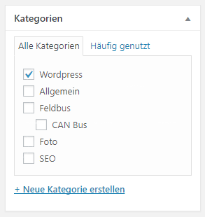 Neue Standardkategorie in WordPress